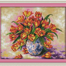 DMC Colorful tulips flowers cross stitch kit Cotton 14ct whi