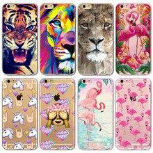 2018 Забавный чехол для Apple IPhone 8 7 6 6S 5 5S ЮВ чехол прозрачный силиконовый Фламинго Тигр обезьяна смайлики мешок мобильного телефона