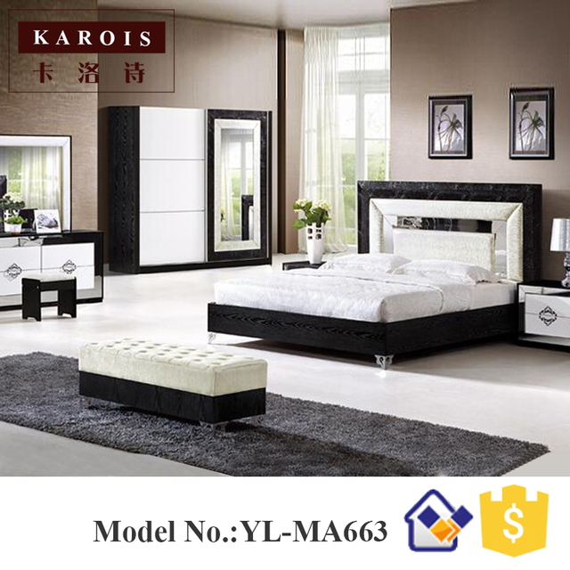 Pakistan Furniture Modern Bed Design Black With White Bedroom Set  ,wardrobe, Dresser, King