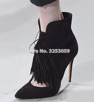 70fb2ac86c8 ALMUDENA Black Blue Suede Pointed Toe Fringe Ankle Boots Hollow Out Stiletto  Heels Tassel Booties Celebrity