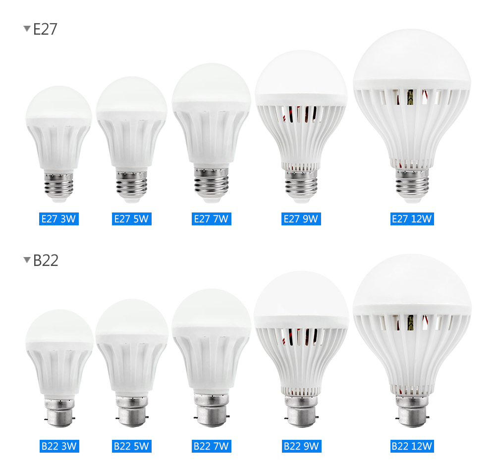 Real Power LED Bulb E27 E14 B22 LED Lampada Ampoule Bombilla SMD5630 3W 5W 7W 9W 12W LED Lamp 220V Cold/Warm White Led Spotlight