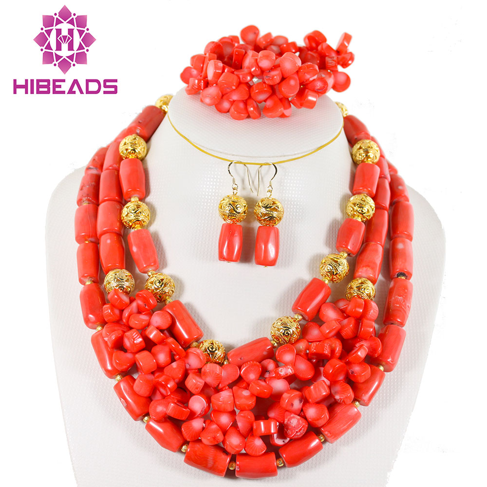 Fabulous African Wedding Jewelry Sets Nigerian Red Coral Beads Bridal Jewelry Set Bride Gift Jewelry Set Free Shipping CG015