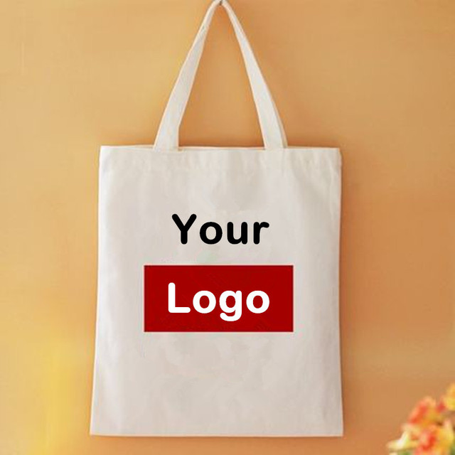 Whole 300pcs Lot Natural Cotton Canvas Ping Bags Custom Tote With Logo Foldable Reusable