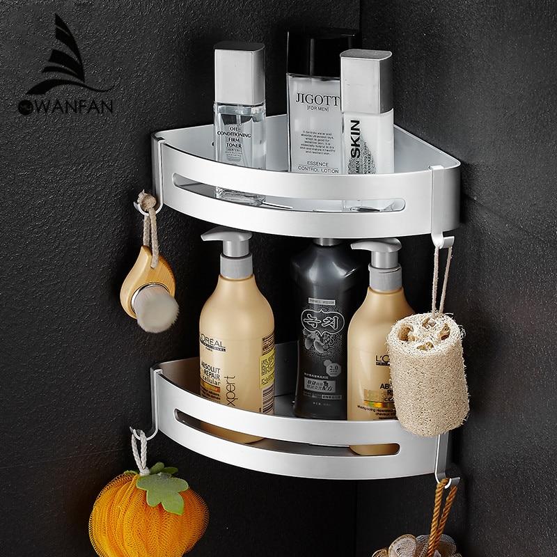 Bathroom Shelves Metal Chrome Shower Corner Shelf Towel Hooks Shampoo Cosmetic Rack Wall Mount Bathroom Holder Bath Basket 9240