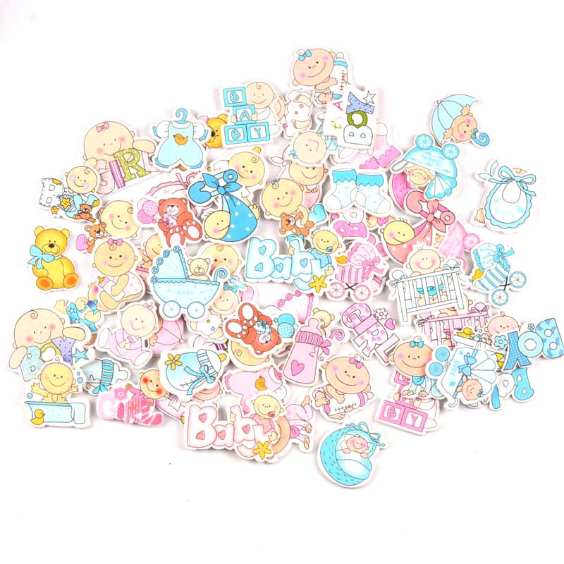 Lovely Baby Painted Wooden Scrapbooking Diy Craft For Party Festival Decoration Ornament Handicrafts 20pcs MT1871
