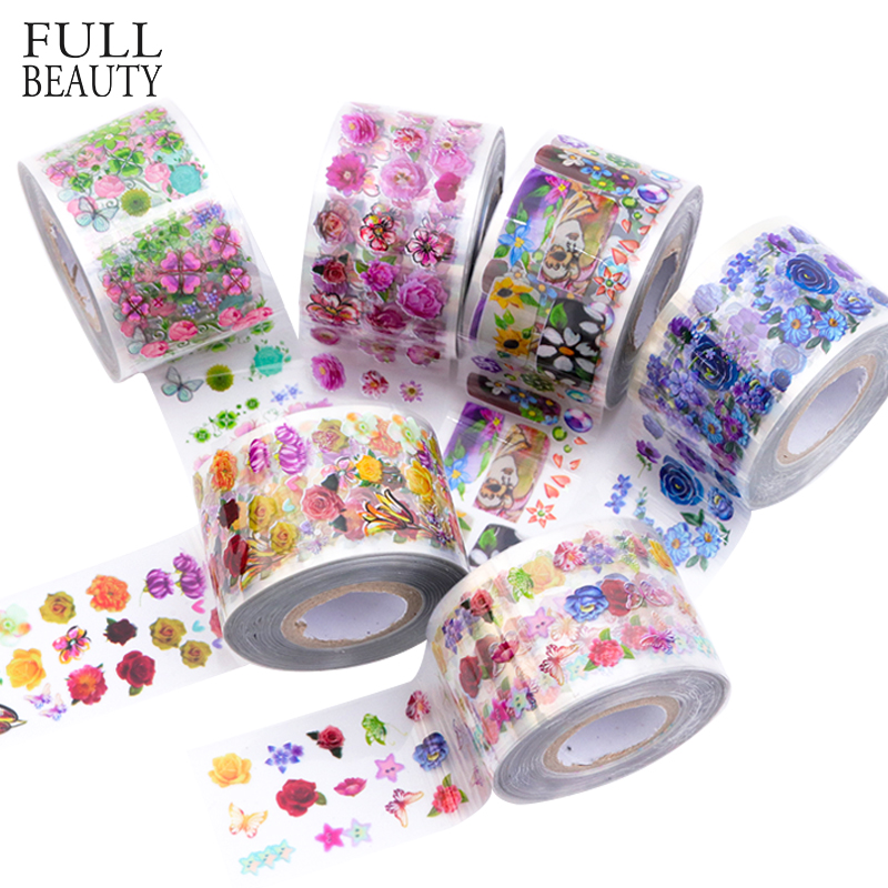 8 Rolls Flower Transparent Base Nail Foil Set 120m Colorful Holo Nail Art Transfer Sticker Decal