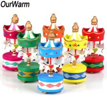 ourwarm 6pcs christmas gift wood carousel horse christmas tree ornaments new year decoration kids toy merry go round wood craft