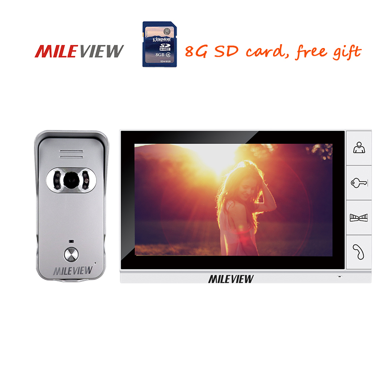 цена на New Wired 9 inch Color Video Door Phone Intercom Record System + 1 700TVL Waterproof Door Camera + 1 White Monitor Free Shipping