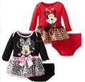 Minnie, nuevo 2016, bebés se viste, niños, bebe, chirdren girl princess dress, ropa del bebé de la muchacha, 2 unids ropa set