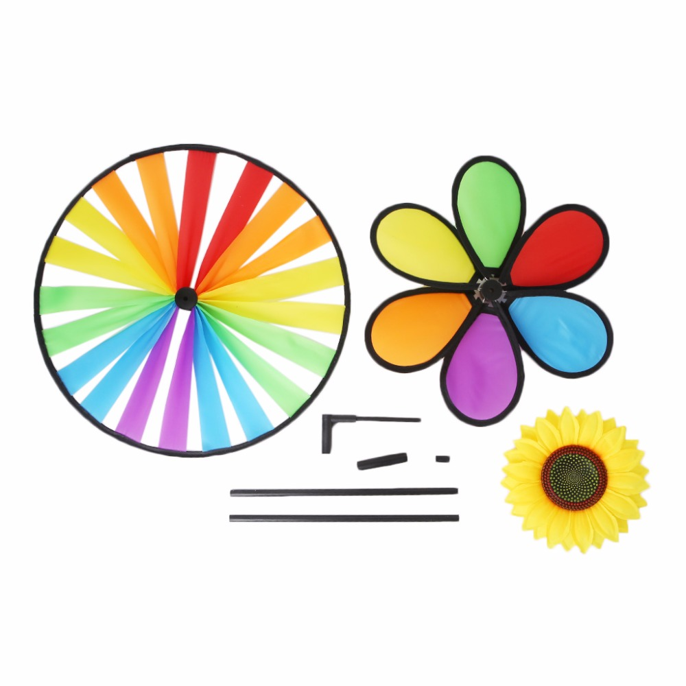 Windmill Toys Children Kids Garden Decoration Flowers Colorful Outdoors Spinner