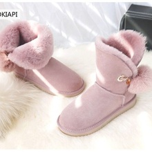 Women's Boots Wool Real-Sheepskin Free-Delivery Natural High-Quality European