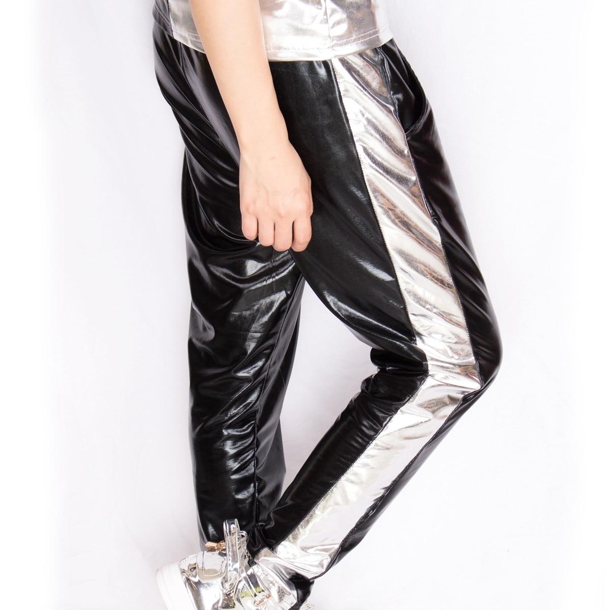 4a6c92279f1 Новая мода Серебряный Bronzing лоскутное Для досуга сцены хип-хоп Джаз шоу  на сцене Костюмы танцевальные штаны-шаровары M-XL