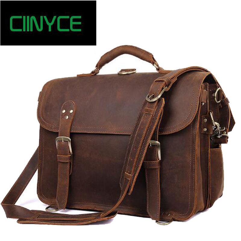 Retro crazy horse travel business man large capacity Handbags Crossody Messenger  Shoulder bags men Cow Skin hand Laptop Totes 08303f35dd5eb