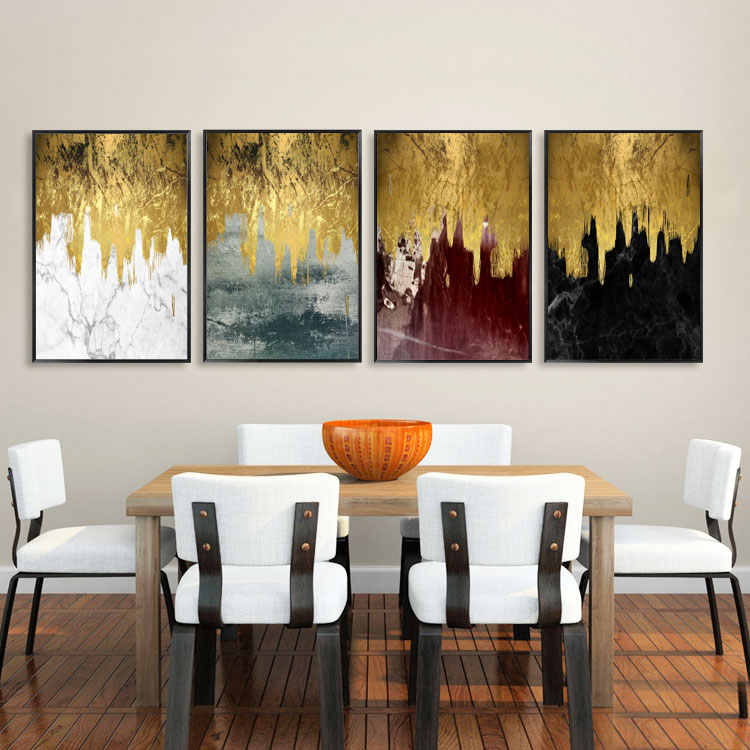 Gold Foil Modern Pictures Poster Watercolor Print Canvas Abstract art Painting Wall for Living Room Home Decor No Frame Office