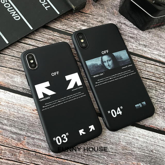 New Twill off ow stripes soft silicon cover case for iphone 6 6S S plus 7 7plus 8 8plus X XR XS MAX white arrow phone couqe capa