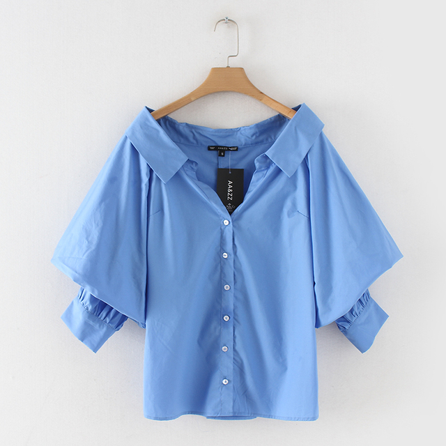 29e87ca36 2018 mulheres de algodão camisa 3 4 manga comprida turn down collar blusa  azul das