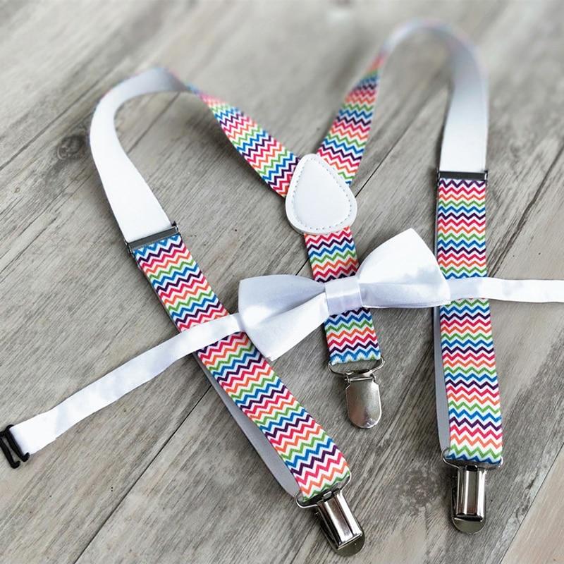 OnnPnnQ Fashion Kids Suspenders Set Personality Children Bowtie Braces Solid Colorful Pants Clothes Accessories For Boys Girls