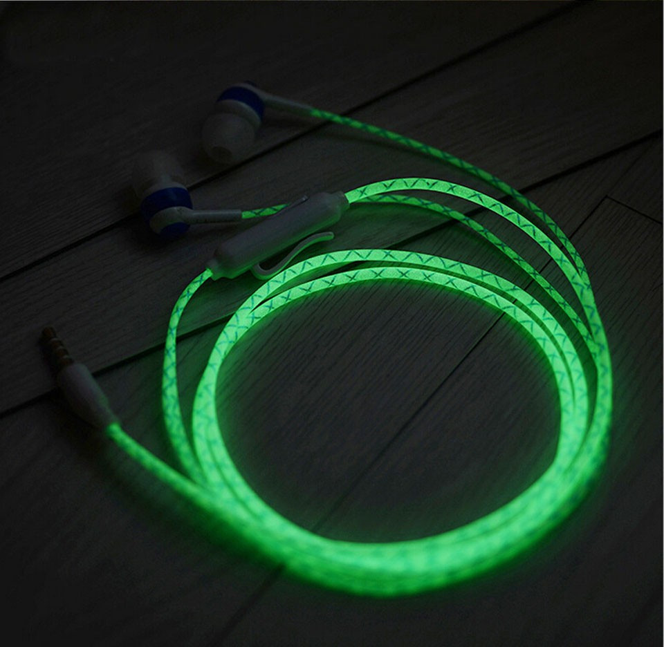 Glowing Earphones 3.5mm Luminous Light Glow in the Dark Earphone with Mic for Iphone for Samsung for Xiaomi гарнитура skullcandy ink d with mic dark red s2ikhy 481