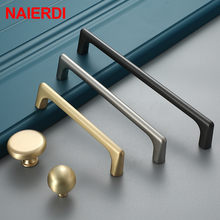 NAIERDI Zinc Alloy Pearl Gray Gold Cabinet Handles Solid Drawer Knobs Kitchen Cupboard Door Pulls Furniture Handle Hardware(China)