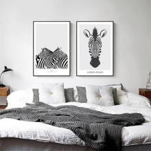 Nordic style 3 colors simple black and white zebra cartoon poster canvas decor painting the living room study wall art picture