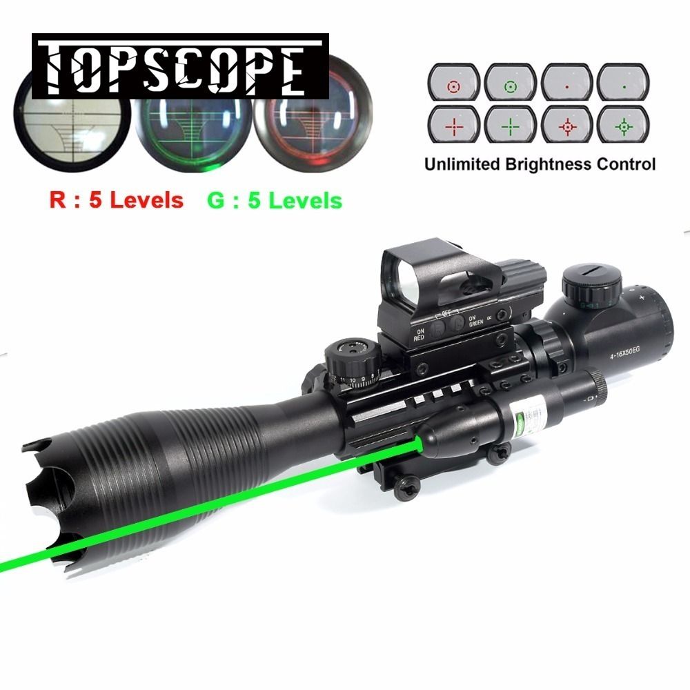 Rifle Scope 4-16x50 AOEG Illuminated Rangefinder Reflex 4 Reticle Red & Green Sight Green Dot Laser 3 10x42 red laser m9b tactical rifle scope red green mil dot reticle with side mounted red laser guaranteed 100%