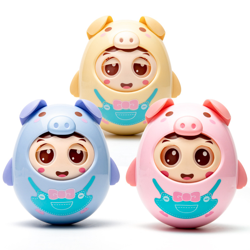 Baby Toy Puzzle Baby Can Bite Soft Rubber 0-1 year old Child Large Tumbler Pig Toys Kawaii Tumbler Baby Girls Boys Toy Gifts