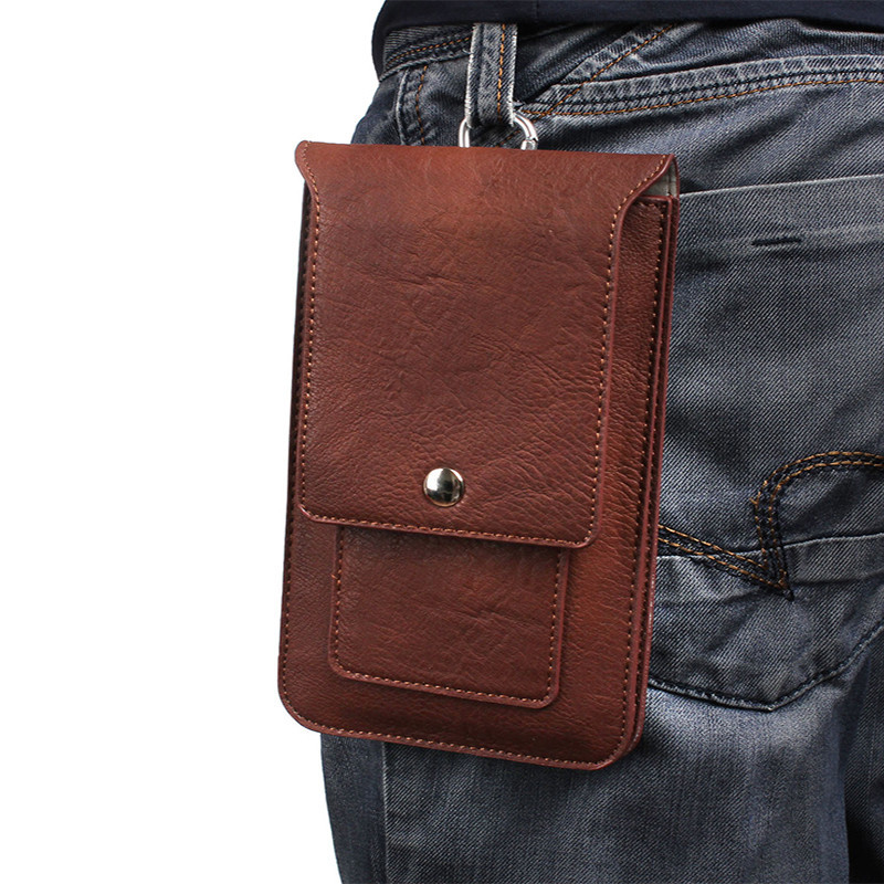 "Luxury Double Carabiner Pockets Bag Hook Loop Belt Pouch For Multi Phone Model Holster Phone Cases For All Smartphone 6.3"" Below"