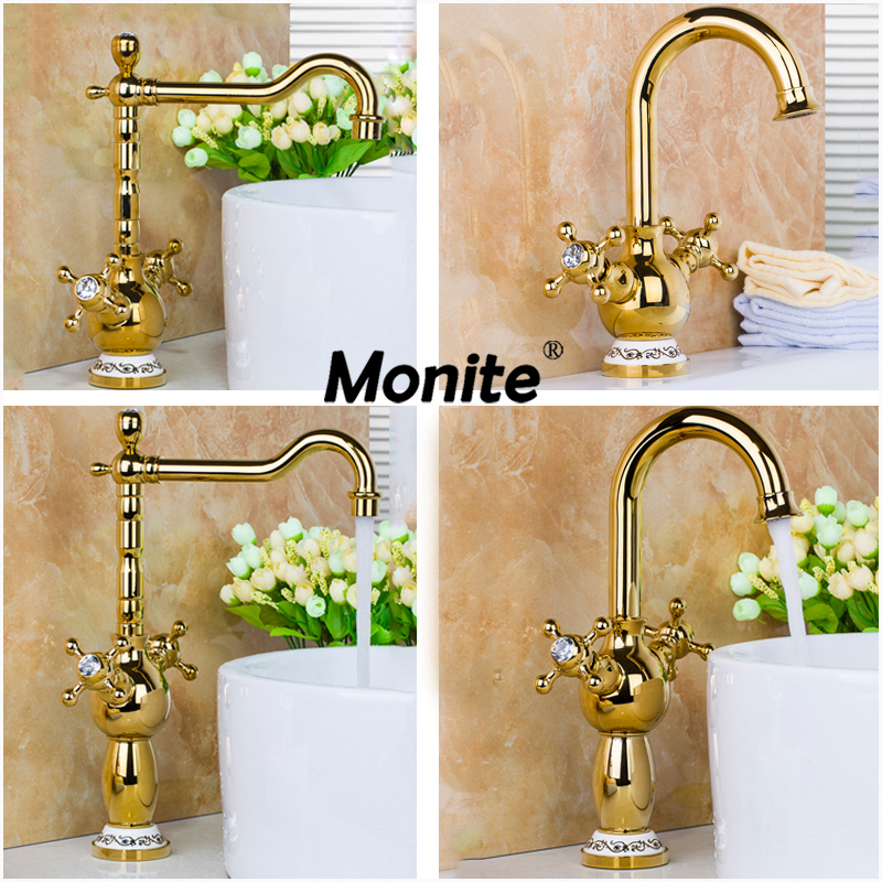 Rotated Golden Brass Water Kitchen Sink Basin Vessel Double Handles Swivel Golden Polished Deck Mounted Mixer Tap Faucet golden plated water mixer tap faucet kitchen sink basin swivel vessel golden polished deck mounted single handle faucet