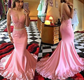 Unique Pink Appliques Lace Beaded Mermaid Prom Dresses Luxury Pearls Beading Long Evening Gowns Sexy Backless Lace Prom Dress