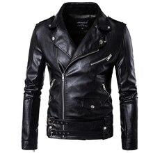 цена M-5XL Men top black color casual leather clothes zipper and belt decorate autumn and winter coat Zipper wristband Leather jacket онлайн в 2017 году