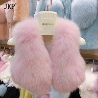 2017 Children Real Fox Fur Vest Girls Vest Kids natural fox Fur Coat Winter New Vest Baby coat