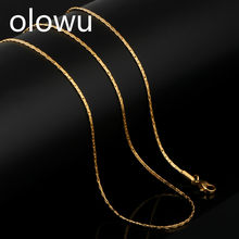 olowu Classic New Women Chains Necklaces Gold Silver Color Snake Chain Necklace Custom Pendant Accessories Stainless Steel Jewel(China)