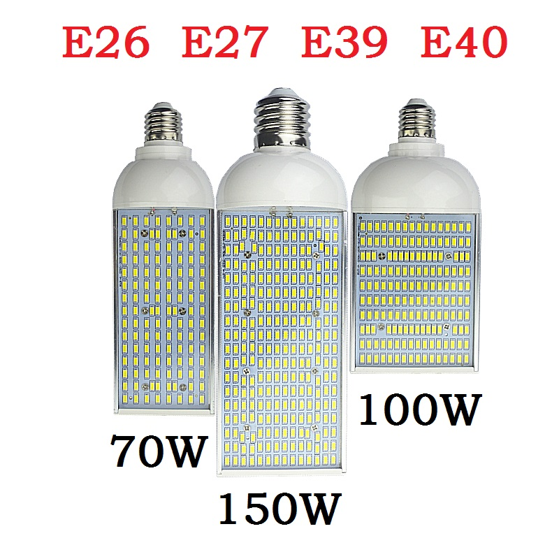 70W 100W 150W LED street Spot light E26 E27 E39 E40 Energy saving high power Corn Bulb Aluminum Lamp 110V 220V Lampada Lighting free shipping e26 e39 100w led corn bulb for post light fixture with etl listed