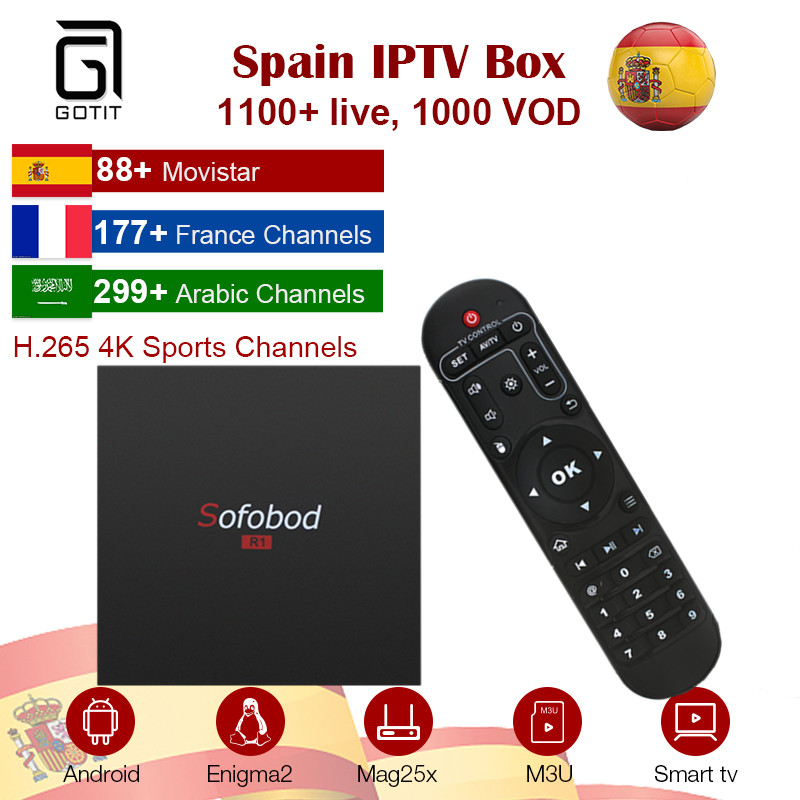 Sofobod Android 7 1 2 Smart TV Box with 1 year Arabic procaja IPTV Spanish French