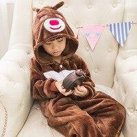 Осенние и зимние фланелевые утепленные милые сиамские пижамы для младенцев с принтом медведя животных детские модели для туалета 5 размеро...