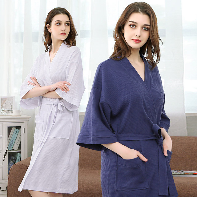 a76e1ff0ff Women 100% Cotton Suck Sweat Towel Bath Robe Sexy Femme Waffle Kimono  Bathrobe Spa Hotel Men Bridesmaid Dressing Gown Peignoir
