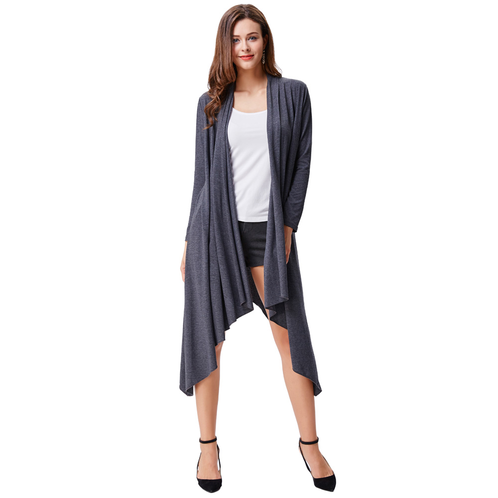 2017 New Arrival Women Autumn Black Grey Jackets Fashion Loose Asymmetric Hemline Long Coat High Stretchy Ladies Windbreaker