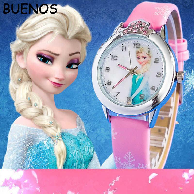 BUENOS 2019 новые relojes мультфильм часы принцессы модные детские часы милый резиновый кожаный кварцевые часы девушка CE0519