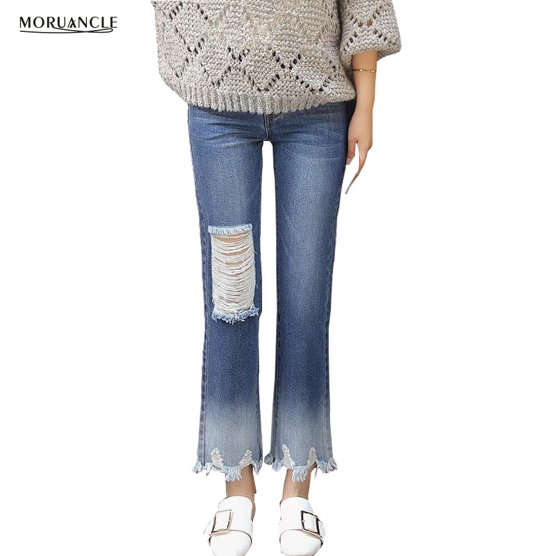 MORUANCLE 2017 New Ripped Flare Jeans Pants For Women Fashion Cropped Wide  Leg Denim Joggers Female - Online Get Cheap Ripped Flare Jeans -Aliexpress.com Alibaba Group