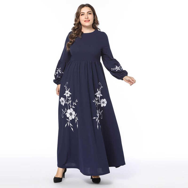 Женские модные длинные платья с рукавами-фонариками и высокой талией 4XL размера плюс Элегантная вышивка в наличии турецкая исламская одежда