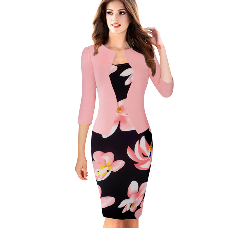 Nice-forever One-piece Faux Jacket Brief Elegant Patterns Work dress Office Bodycon Female 3/4 Or Full Sleeve Sheath Dress b237 3