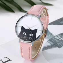 Women's Stylish Wristwatch with Cat Themed Pattern and Leather Band