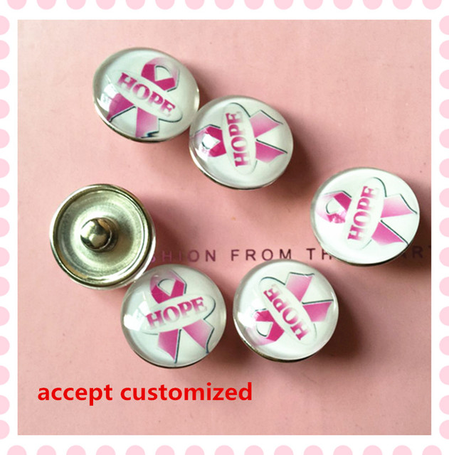 ca356a26b02 October 18mm alloy glass pink ribbon hope button Breast Cancer Awareness  gifts DIY women favor snap