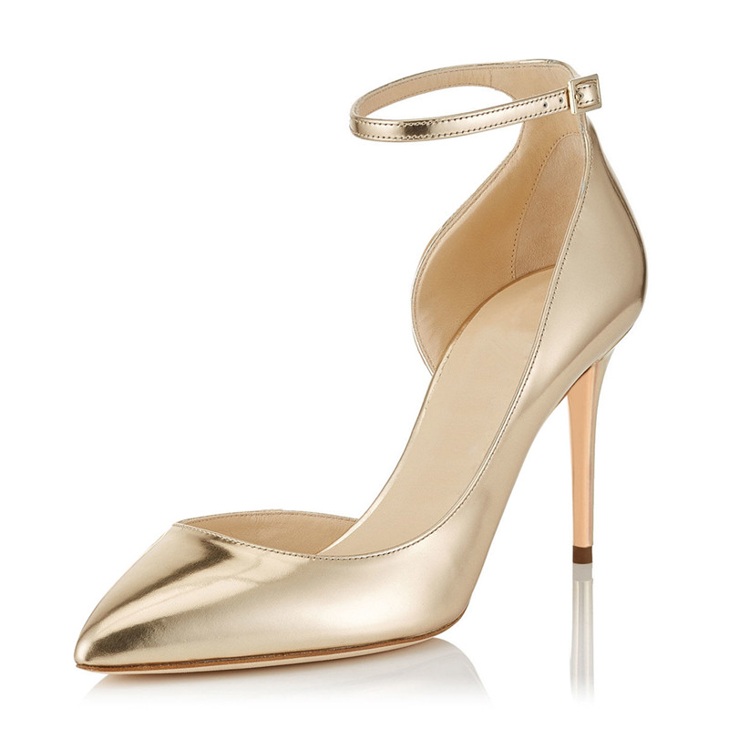 Plus Size 34-46 2018 New Fashion High Heels Women Pumps Thin Heel Classic Gold Ankle Strap Sexy Prom Wedding Shoes TL-A0081