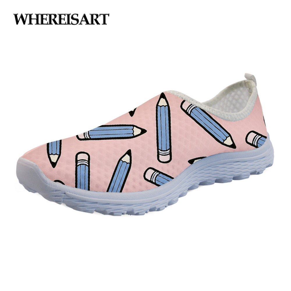 WHEREISART Sneakers Flats-Shoes Beach-Loafers Mesh Pink-Pattern Female Fashion Summer