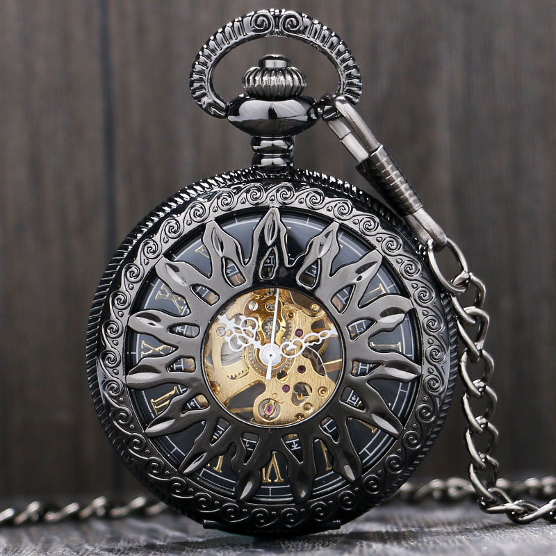 Fashion Black/Gold Flower Sun Hollow Design Case With Roman Number Skeleton Mechanical Fob Pocket Watch Gift To Men Women