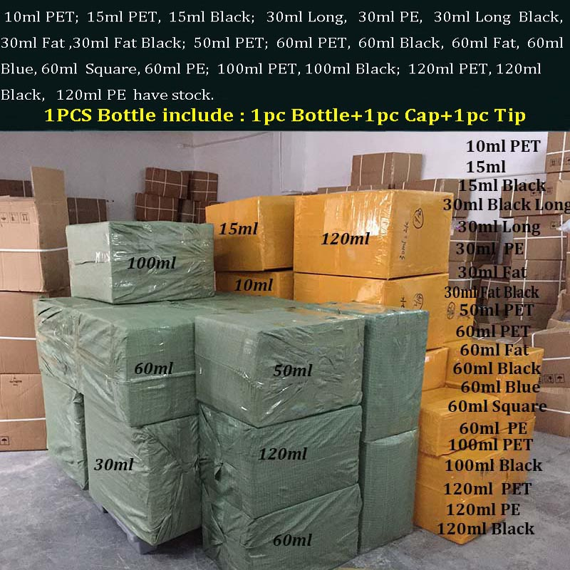 500pcs PET Fat long Plastic Dropper Bottle Empty Eye Liquid Nail Gel Bottles 10ml 15ml 30ml 60ml 100ml 120ml With Tamper Caps