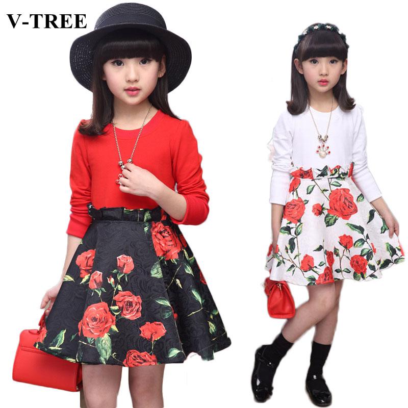 V-TREE Flower Girl Dresses Long Sleeve Baby Dress Princess Dress For Girls Children Dress Age 10 12 Teenager Clothes