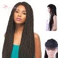 28 inch 2X Сенегальский twist парики шнурка Длинная Коса Парик Синтетических Плетеные Кружева Перед парики африканских плетение Парики Для африканских американский