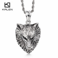 KALÉN 2017 Gothic Big Wolf Dây Chuyền For Men Unique Thép Không Gỉ Animal Wolf Mặt Dây Chuyền Vòng Cổ Dài Thả Đá Vận Chuyển Đồ Trang Sức